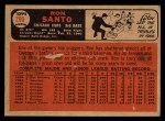 1966 Topps Venezuelan #290   Ron Santo Back Thumbnail