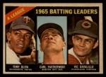1966 Topps Venezuelan #216  AL Batting Leaders  -  Vic Davalillo / Tony Oliva / Carl Yastrzemski Front Thumbnail