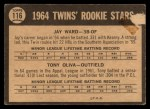 1964 #116   -  Jay Ward / Tony Oliva  Twins Rookies Back Thumbnail