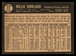 1964 Topps Venezuelan #17  Willie Kirkland  Back Thumbnail