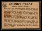 1964 Topps Venezuelan #248   Johnny Pesky Back Thumbnail
