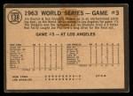 1964 Topps Venezuelan #138  1963 World Series - Game #3 - L.A. Takes 3rd Straight - Ron Fairly  Back Thumbnail