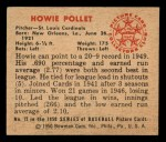 1950 Bowman #72   Howie Pollet Back Thumbnail