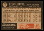 1964 Topps Venezuelan #131  Steve Boros  Back Thumbnail