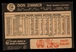 1964 Topps Venezuelan #134   Don Zimmer Back Thumbnail