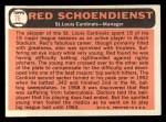 1966 Topps #76  Red Schoendienst  Back Thumbnail