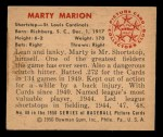1950 Bowman #88   Marty Marion Back Thumbnail