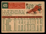 1959 Topps #425   Del Crandall Back Thumbnail