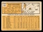 1963 Topps #328   Dick Williams Back Thumbnail