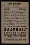 1952 Bowman #12   Max Surkont Back Thumbnail