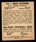 1948 Leaf #14 BLK Mal Kutner  Back Thumbnail