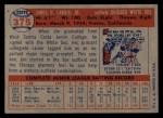 1957 Topps #375   Jim Landis Back Thumbnail