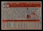 1957 Topps #61   Dusty Rhodes Back Thumbnail