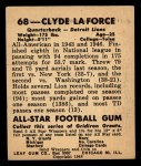 1948 Leaf #68 RED Clyde LaForce  Back Thumbnail