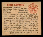 1950 Bowman #118   Clint Hartung Back Thumbnail