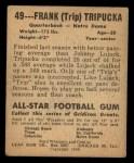 1948 Leaf #49   Frank Tripucka Back Thumbnail