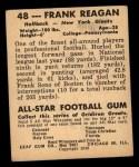 1948 Leaf #48  Frank Reagan  Back Thumbnail
