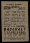 1952 Bowman #102   Peanuts Lowrey Back Thumbnail