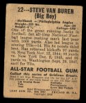 1948 Leaf #22 GRN Steve Van Buren  Back Thumbnail