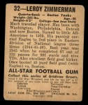1948 Leaf #32   Leroy Zimmerman Back Thumbnail