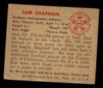 1950 Bowman #104   Sam Chapman Back Thumbnail