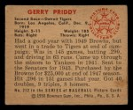 1950 Bowman #212   Jerry Priddy Back Thumbnail