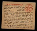 1950 Bowman #216  Bob Porterfield  Back Thumbnail