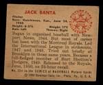 1950 Bowman #224  Jack Banta  Back Thumbnail