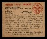 1950 Bowman #96  Virgil Trucks  Back Thumbnail