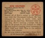 1950 Bowman #186  Ken Keltner  Back Thumbnail