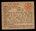 1950 Bowman #50  Dick Kokos  Back Thumbnail