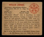 1950 Bowman #67  Willie Jones  Back Thumbnail
