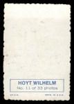 1969 Topps Deckle Edge #11 A  Hoyt Wilhelm Back Thumbnail