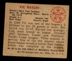 1950 Bowman #100  Vic Raschi  Back Thumbnail