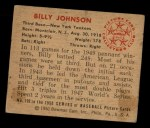 1950 Bowman #102   Billy Johnson Back Thumbnail