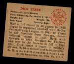 1950 Bowman #191  Dick Starr  Back Thumbnail