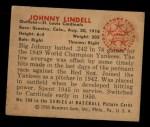 1950 Bowman #209   Johnny Lindell Back Thumbnail