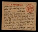 1950 Bowman #138  Allie Reynolds  Back Thumbnail