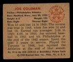 1950 Bowman #141  Joe Coleman  Back Thumbnail