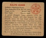 1950 Bowman #33  Ralph Kiner  Back Thumbnail