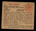 1950 Bowman #40  Bob Lemon  Back Thumbnail