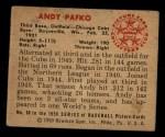 1950 Bowman #60  Andy Pafko  Back Thumbnail