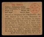 1950 Bowman #31   Del Ennis Back Thumbnail