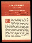 1963 Fleer #86   Jim Fraser Back Thumbnail