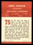 1963 Fleer #75   Emil Karras Back Thumbnail