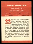 1963 Fleer #22  Nick Mumley  Back Thumbnail