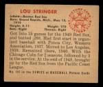 1950 Bowman #187   Lou Stringer Back Thumbnail