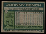 1977 Topps #70  Johnny Bench  Back Thumbnail