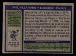 1972 Topps #108  Phil Villapiano  Back Thumbnail
