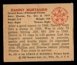 1950 Bowman #203  Danny Murtaugh  Back Thumbnail